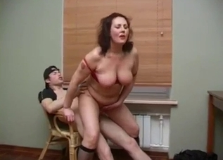 Chubby MILF riding her son's meaty dong