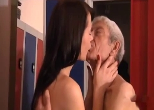 Dark-haired chick fucks her father