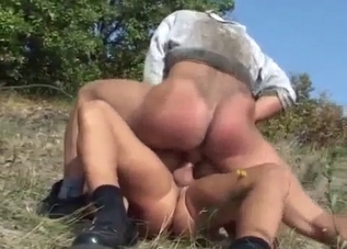 Short-haired blonde MILF enjoys incest outdoors