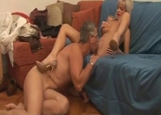 Busty blonde loves daddy's tongue