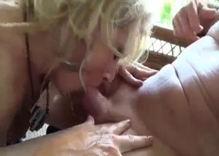 Blonde deepthroating her dad's prick