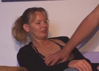 Jeans-wearing blonde fucking her son