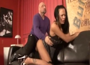 Leggy brunette fucks this hung stud