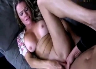 Busty blonde enjoys her son's big dick