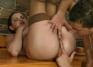 Stockings-clad brunette fucks her hung son