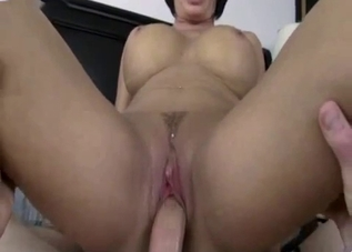 Busty mommy enjoys her son's giant cock