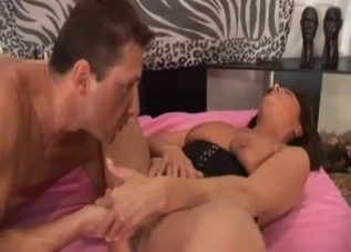 Tanned MILF fingered and fucked by her son