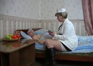 Drunk son fucks his nurse-looking mommy