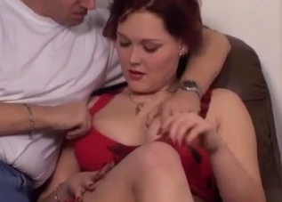 Redhead in red seduced by her hung dad