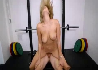 Blonde with a great tan enjoys incest in the gym