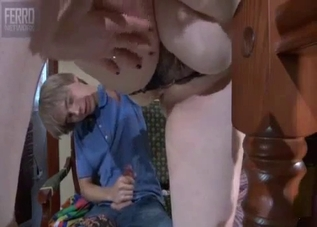 Pale blonde MILF fucking her shaggy-looking son