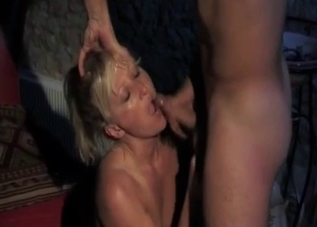 Tanned blonde gets sideways banged by her son