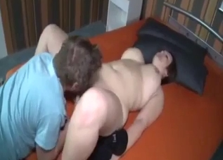 Fat brunette MILF fucking her jeans-wearing son