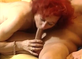 Curly-haired MILF in white fucking her son