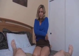 Blue shirt blonde jerks her son's cock