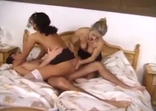 Incestuous FFM threesome on a big white bed