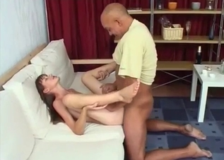 Brunette banging her big-dicked dad on a white couch