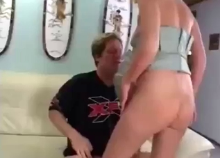 Blonde with a round butt fucks her sleazy dad