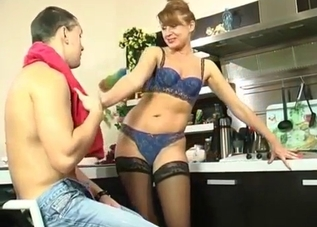 Stockings-clad cutie fucking her hung son