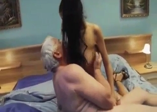 Tanned brunette fucks her ancient-looking dad