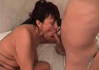 Hairy pussy mommy takes it from her son