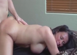 Dark-haired chick destroyed by her son