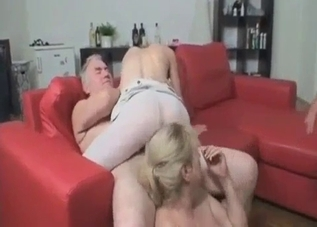 Foursome incest with blond daughter and her mommy