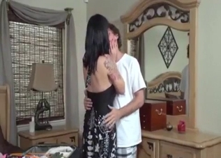 Dark-haired MILF enjoying incest with her son