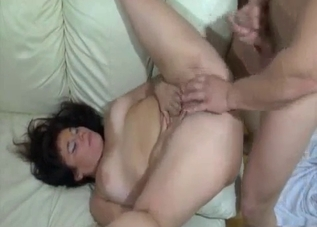 Dark-haired chick fucking her son