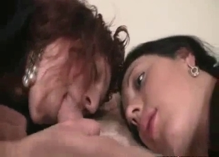 Threesome with mom, dad and their brunette daughter