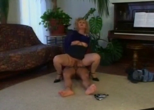 Mature lady in blue fucks her son on the floor