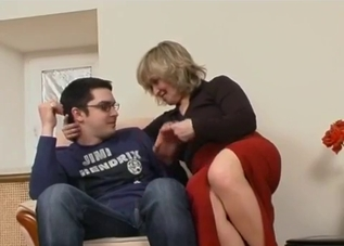 Red skirt blonde MILF fucking her nerd son
