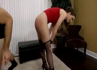 Brunette chick in red face-fucked in this incest clip