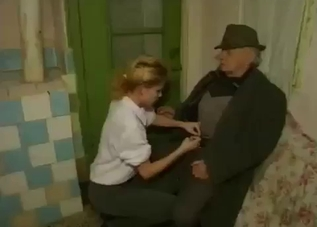 White get-up blonde sucking her grandpa's cock