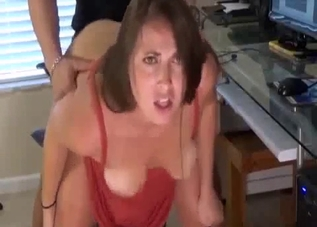 Fat booty brunette drilled by her hung son