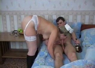Drunk mommy/nurse fucking her hung son