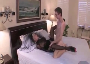 Creepy-ass widow-like mommy fucks her son