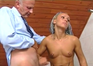 Tanned blonde half-crying while jerking off her dad