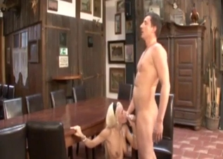 Tanned blonde jerks off her hung brother on a table