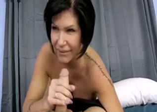 Busty MILF with black panties seduces her son