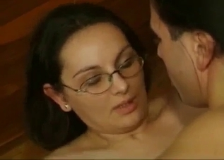 Brunette with glasses fucked sideways