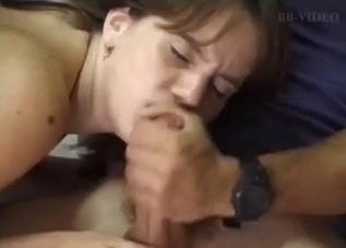 Dark-haired beauty takes dad's cock from behind