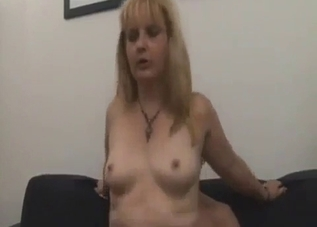 Busty blonde sucking her son's big dick