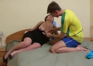Pudgy brunette seduces her big-dicked son