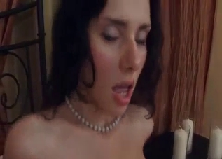 Bride-like get-up brunette fucking her brother