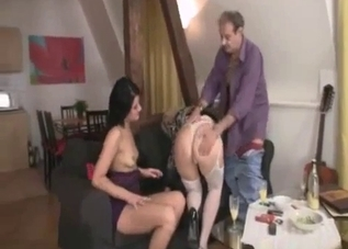 Teen brunette in purple gets fucked by her parents