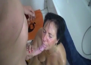 Tanned mommy gets fucked by her hung son