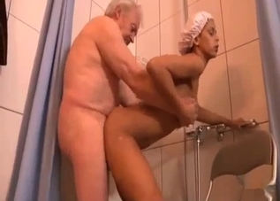Ancient-looking dude fucks his daughter in the shower